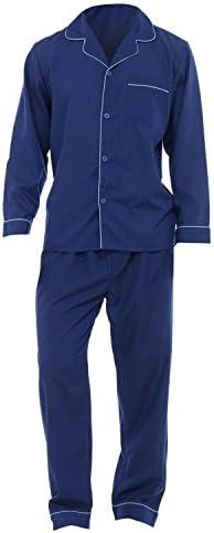 メンズ 無地 長袖ボタンシャツ・ズボン パジャマ上下セット ナイトウェア トップス・ボトムス 男性用