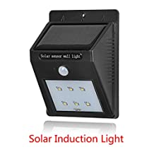(1 Pack)Bright Outdoor 6 LED Solar Lights Motion Sensor Detector Weatherproof Wireless Exterior Security Outdoor Lighting For Patio Yard Garden Driveway Outside Wall, Auto On / Off Not Dimmable,100lm