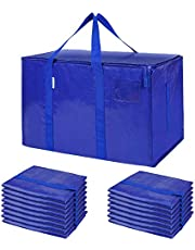 TICONN Extra Large Moving Bags with Zippers & Carrying Handles, Heavy-Duty Storage Tote for Space Saving Moving Storage (Blue)