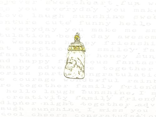 Swirls Baby Bottle Charm in Silver & 22k Gold ()