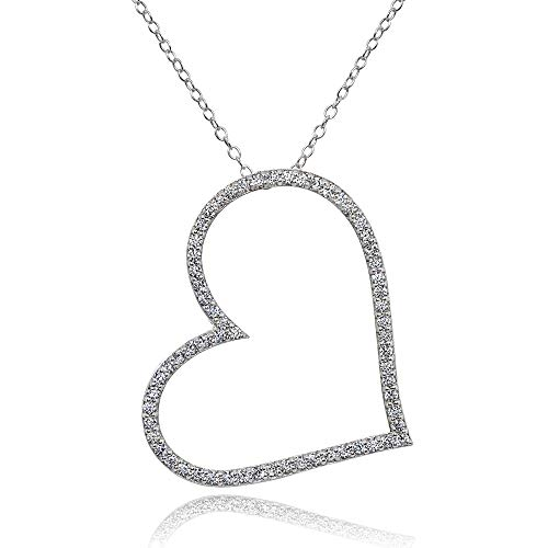Sterling Heart Silver Slide Pendant (Sterling Silver Cubic Zirconia Large Sideways Heart Slide Pendant Necklace)