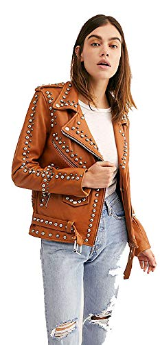 Cloudberry Womens Punk Motorcycle Studded Leather Jacket for Women XS Brown