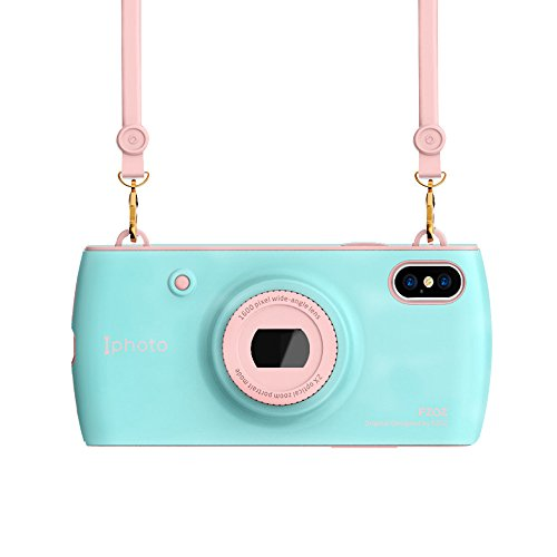pzoz Case Compatible iPhone X Case, 3D Unique Design, PC Hard Case Soft Silicone Cover Long Lanyard, Holder Hanging Neck Wrist Strap Outdoors Travel Necklace Backpack Compatible iPhone X(Blue/Pink)