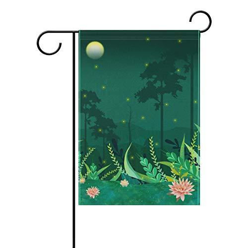 Ethel Ernest Lightning Bug Moonlight Double Sided Family Flag Polyester Outdoor Flag Home Party Decro Garden Flag 12x18 in