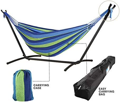 Cloud Mountain Double Hammock with Stand Heavy Duty Steel Freestanding Hammock Patio Hammock Bed Portable with Carrying Bag