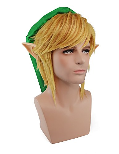 Link Cosplay Wig Glod Hair Legend of Zelda Halloween Costume Wig