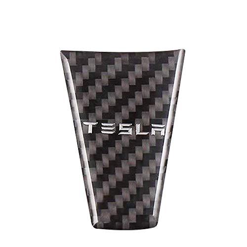 CoolKo Newest Tesla Carbon Fiber Steering Wheel Down Black Sticker for Tesla Model S and Model X [1 Piece]