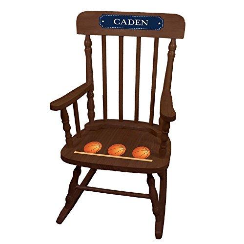 MyBambino Personalized Basketballs Espresso Childrens Rocking Chair by MyBambino