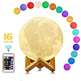 16 Colors LED 3D Print Moon Light with Stand & Remote&Touch Control and USB Rechargeable - Best...