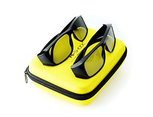 Hi-SHOCK® 2x passive 3D-Brille für 4K 3D TV 's von LG® Philips®, Grundig®, Löwe®, Sony®, Panasonic®, Toshiba® | kompatibel mit AG-F420 / PTA417 / ZCW000 / ART 32 / TDG500P / TY-EP3D20E / PX1821E-1TVA | inkl. DualCase + 3 Jahre Garantie [ Polarisations-3D-Technologie | 2er-Pack | Schwarz ]