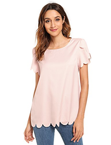 Floerns Women's Solid Scallop Hem Round Neck Short Sleeve Blouse Tops Pink-2 S