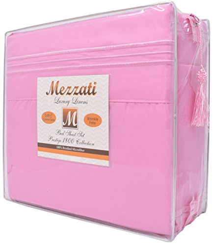 Mezzati Luxury Bed Sheets Set - Sale - Best, Softest, Coziest Sheets Ever! 1800 Prestige Collection Brushed Microfiber Bedding (Pink, Queen)