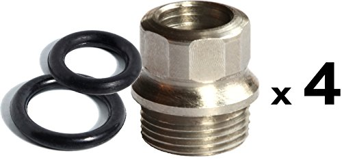 4 ea STAINLESS 1911 FULL SIZE GRIP BUSHINGS / 8 ea O rings | US made for Colt and clones | Patented design prevents loose grip screws | Hex drive ()