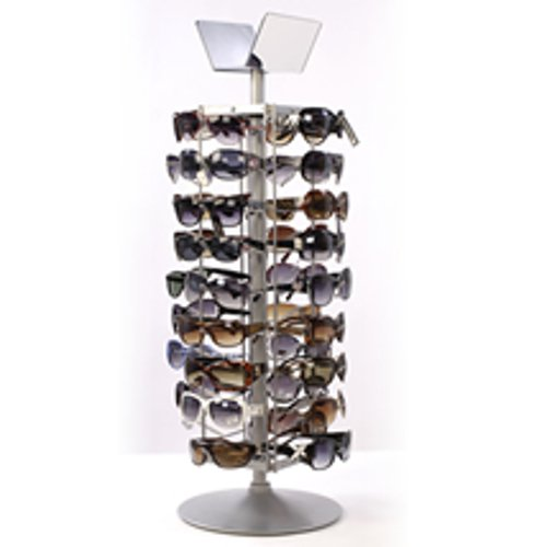 Sunglass Countertop Spinner Retail Store Display Silver Frame 36 Pair - Fixtures Sunglass