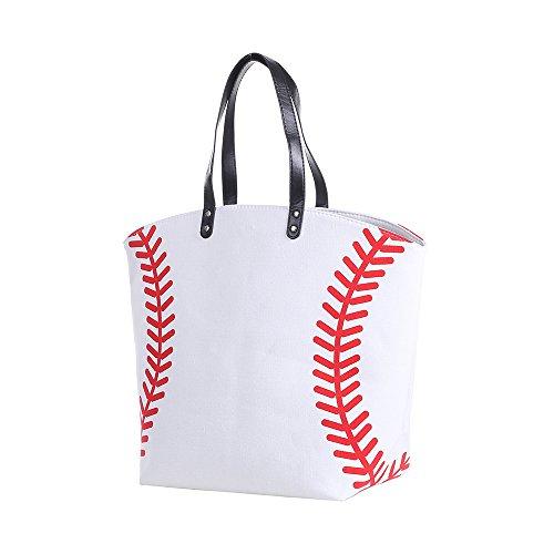 E-FirstFeeling Large Baseball Tote Bag Sports Prints Tote Beach Bag Travel Bag for Women (Baseball) ()