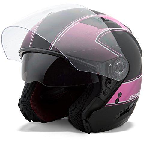 GMAX Unisex-Adult Style G3771405 TC-14F Of77 Open Face Helmet Classic Flat Black/Pink m (Medium)