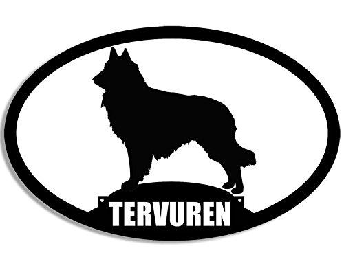 American Vinyl Oval Tervuren Silhouette Sticker (Dog Belgian Belgium Love) ()