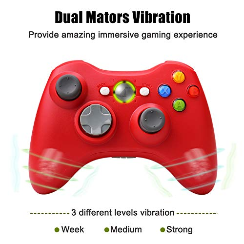 Wireless Controller for Xbox 360, Vinklan 2.4G Wireless Remote Controller Gamepad for Xbox 360 & Slim Windows 7/8/10 (Red)