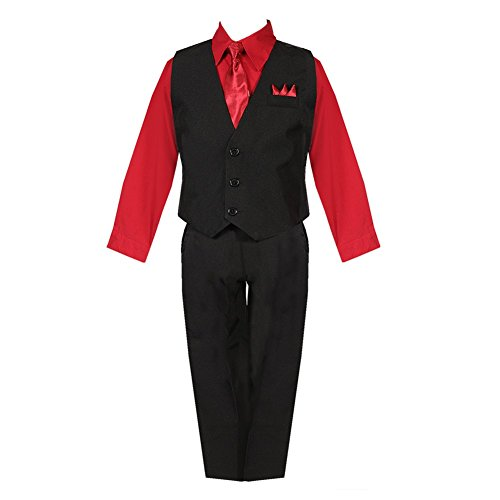 Bodice Vest (Big Boys Black Red Shirt Vest Pants Neck Tie Pocket Hanky 5 Pcs Suit 20)