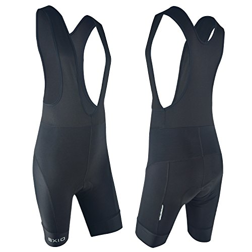 Mens Padded Cycling Bib Shorts, Breathable Gel Padded Bicycle Bib Shorts for Mountain Bike Riding, Black, - Bib Gel
