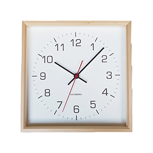 KATOMOKU muku square clock 2 km-65N 木 バスウッド 連続秒針 B076BGRT5B