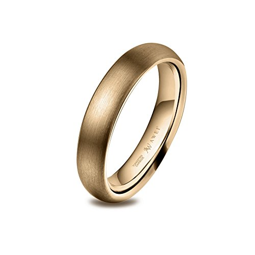 Mens Brushed Band - AW Tungsten Rings Matte Brushed Wedding Band - Gold Unisex Comfort Fit Engagement Ring 4mm, Size 8