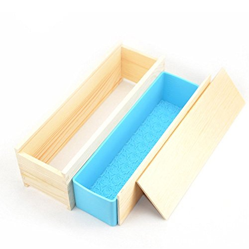 Youbedo Soap Mold Loap Maker Tool Rectangular Handmade Craft Mould with Rose Pattern Wood Box