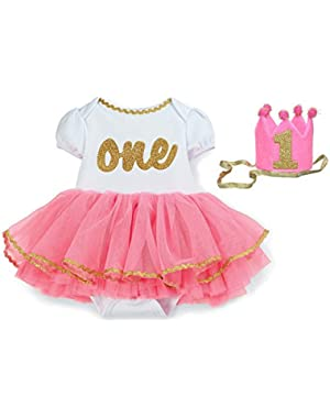 Baby-girls Newborn I'm One Tutu Crawler Party Bundle