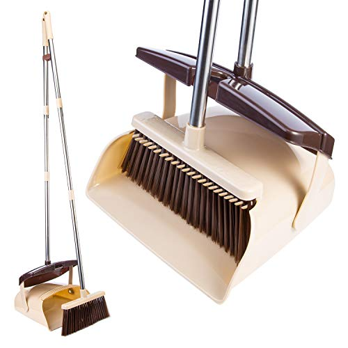 Broom and Dustpan Set [2019 New Design] Outdoor Or Indoor Dust Pan 3 Foot Angle Heavy Push Combo Upright for Kids Garden Pet Dog Hair Wood Floor Sweeping Kitchen House Stainless Steel Handle (2233)