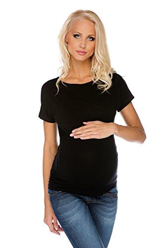 My Tummy Still Top Mutterschafts Shirt Wickeltop Schwarz Umstandsmode von