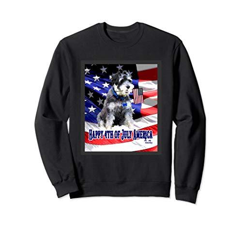(4TH OF JULY HOLIDAY MINI SCHNAUZER DOG HOLDING AMERICAN FLAG Sweatshirt)