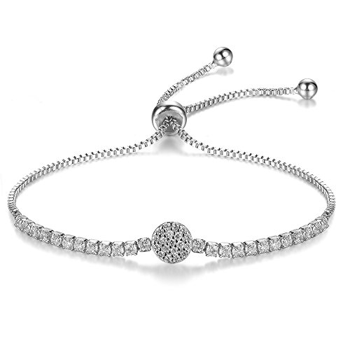 Micropave Disc Bolo Bracelet Adjustable 10 Inch White Gold Plating