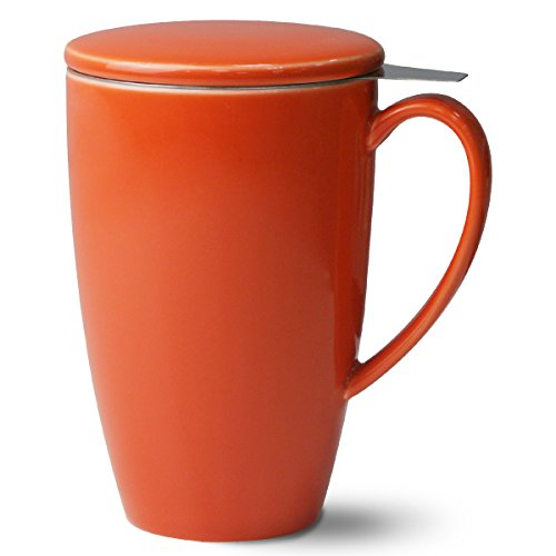 Porcelain Tea Mug with Infuser and Lid, 15 OZ, Orange - by Sweese (Orange Mug With Lid compare prices)