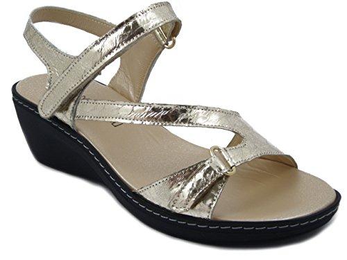 Sandalo platino Oro 5cm Osvaldo E17 2351 Pericoli Pelle Zeppa In 5fTxX