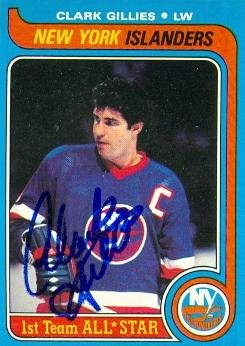 Autograph Warehouse 62837 Clark Gillies Autographed Hockey Card New York Islanders 1979 Topps No. 130