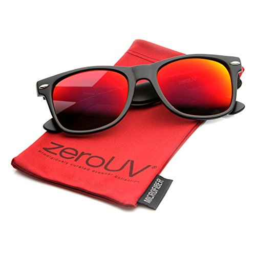 zeroUV ZV-8025c Retro Matte Black Horned Rim Flash Colored Lens Sunglasses, Black Crimson, - 50mm Size Sunglasses