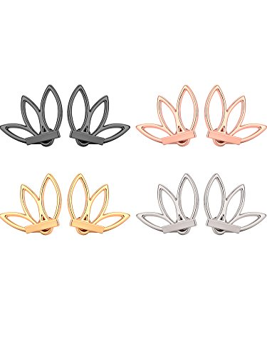 Mtlee 4 Pairs Lotus Stud Earrings Lotus Flower Earring Studs Piercing Ear Jacket Stud for Women and Girls, 4 Colors