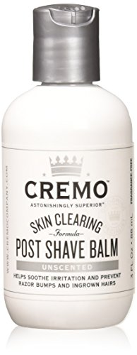 - Cremo Unscented Post Shave Balm with Skin Clearing Formula, Helps Prevent Razor Bumps, Blemishes and Ingrown Hairs, 3 Fluid Ounces