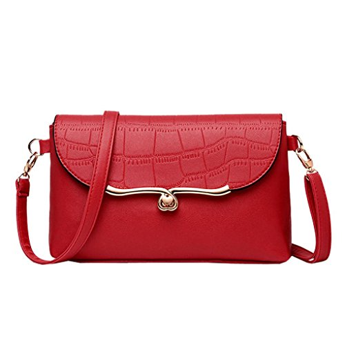 Price comparison product image Pocciol Lady Girl Love Bags, Womens Vintage Shoulder Bag Stone Pattern Leather Crossbody Bag Messenger Bag (Red)