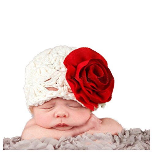 Multifit Cute Newborn Baby Photography Props Photo Shoot Crochet Knit Hat Posing Accessory(White) -