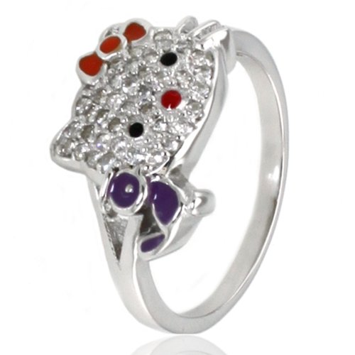 Sterling Silver Cubic Zirconia Kitty Ring w/ Purple Bird - Size 8