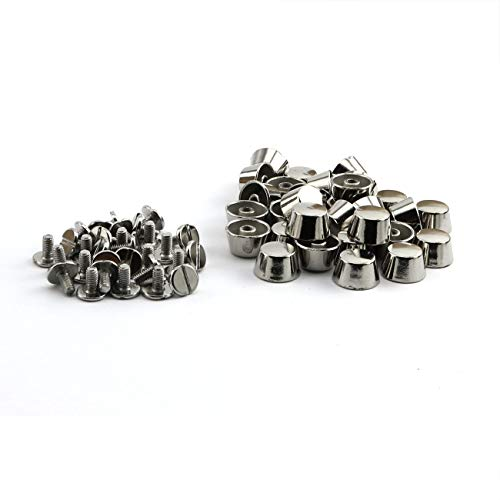 ZRM&E 30pcs 12mm Handbag Bottom Protecting Feet Flat-Topped Cone Head Screwback Studs DIY Metal Spikes for Leather Craft Bag Shoes Clothes Decoration Silver