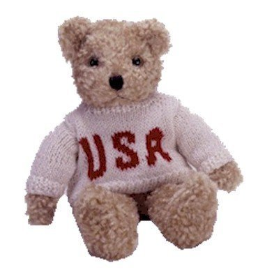 - Ty Baby Curly Bear in Patriotic USA Sweater