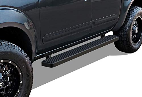 2019 Nissan Frontier Crew Cab - APS iBoard Running Boards (Nerf Bars Side Steps Step Bars) Compatible with 2005-2019 Nissan Frontier Crew Cab Pickup 4-Door (Black Powder Coated 5 inches)