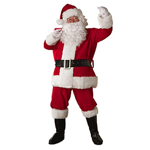 Plus Size Clearance Costumes (Coerni Christmas Santa Costume - Santa Claus Clothes+Pants+Belt+Hat+Beard Set of 5)