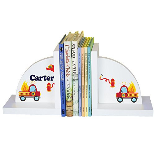 MyBambino Boy's Personalized Firetruck Bookends ()