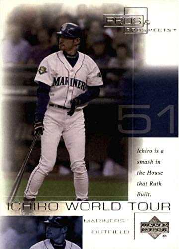 2001 Upper Deck Pros & Prospects - ICHIRO Suzuki - World Tour Yankee Stadium - Seattle Mariners Baseball Rookie Card RC #WT5