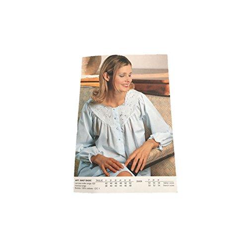 LINCLALOR camicia da notte celeste donna manica lunga 100% cotone