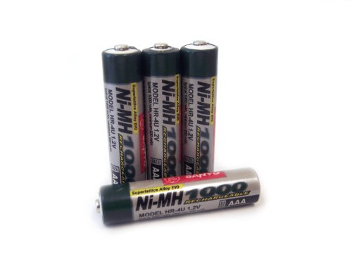 Sanyo 1,000 mAh AAA NiMH Rechargeable Batteries 4-Pack (Discontinued by Manufacturer) (Digital Sanyo Camera Charger)