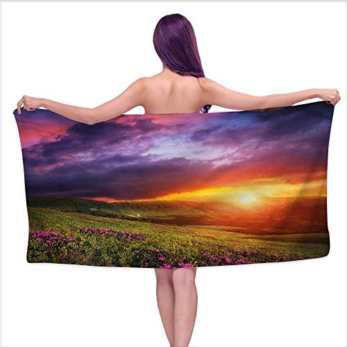 Ediyuneth Bath Towel bar Landscape,Mountain and Rhododendron,W12 xL35 for Youth Girls Cotton ()